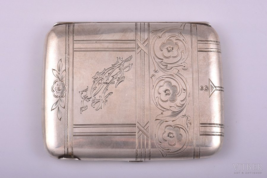 cigarette case, silver, 84 standart, engraving, 1908-1917, 153.15 g, Moscow, Russia, 11.3 x 8.8 x 1.5 cm