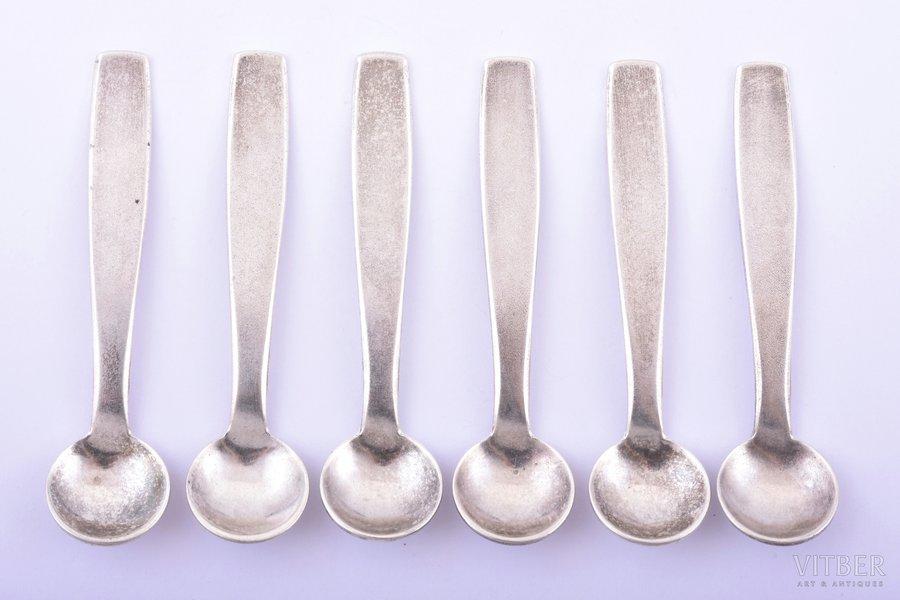 set of 6 spoons for salt, silver, 6 pcs., 875 standart, 1963, 32.40 g, Tallinn Jewelry Factory, Tallin, Estonia, USSR, 6.5 cm