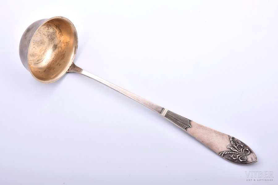 ladle, silver, 875 standart, gilding, the 20ties of 20th cent., 243.05 g, by Julijs Blums, Latvia, 33.5 cm
