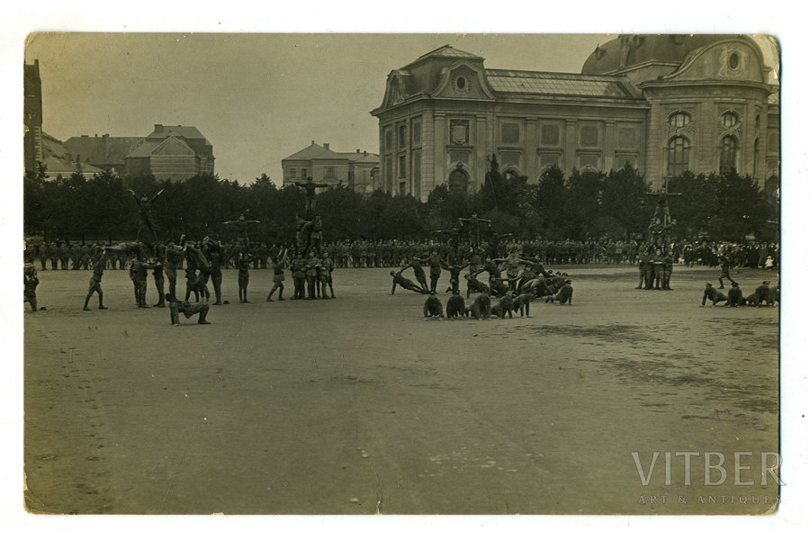 photography, Riga, Esplanade, the first military parade of Independent Latvia, Instructor battalion performs exercises, Latvia, beginning of 20th cent., 13,6x8,6 cm