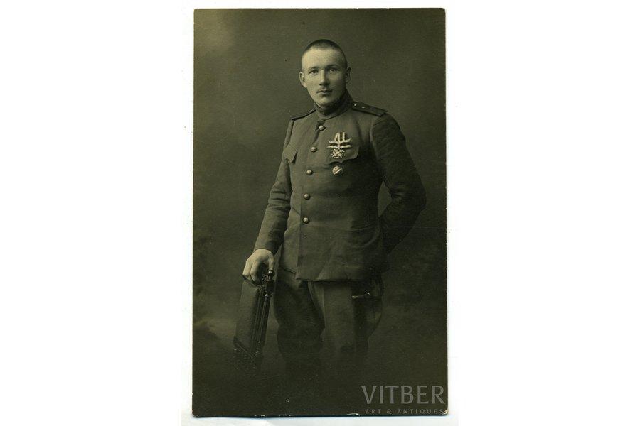 photography, praporshchik of 1st Daugavgrīva Latvian Riflemen battalion N. Wildbergs, Latvia, Russia, beginning of 20th cent., 13,4x8,2 cm