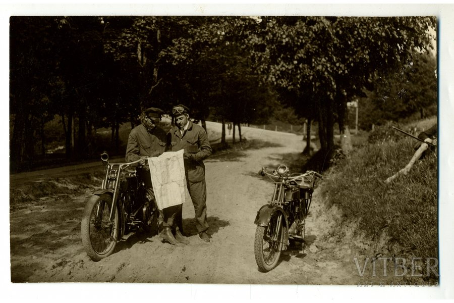 photography, motorcyclists, Latvia, 20-30ties of 20th cent., 13,7x8,6 cm