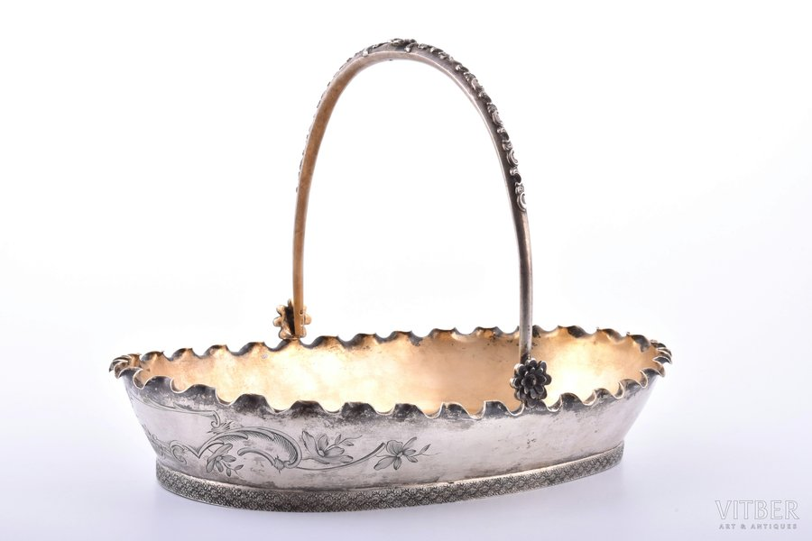 biscuit tray, silver, 84 standart, engraving, gilding, 1896-1907, 431.20 g, Moscow, Russia, 27.4 x 17.2 cm, h (with handle) 18.8 cm