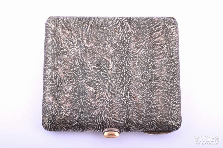 "cigarette case, silver, 830 standart, ""Nugget"", gilding, 1952, 140.15 g, Turku, Finland, 9.7 x 9 x 1.6 cm"