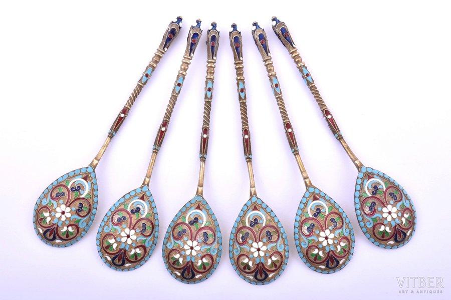 set of teaspoons, silver, 6 pcs., 84 standart, cloisonne enamel, gilding, 1880-1899, 94.60 g, Moscow, Russia, 11.3 cm