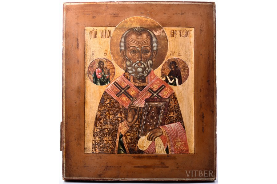 icon, Saint Nicholas the Miracle-Worker, board, painting, guilding, Russia, 31 x 26.7 x 2.3 cm