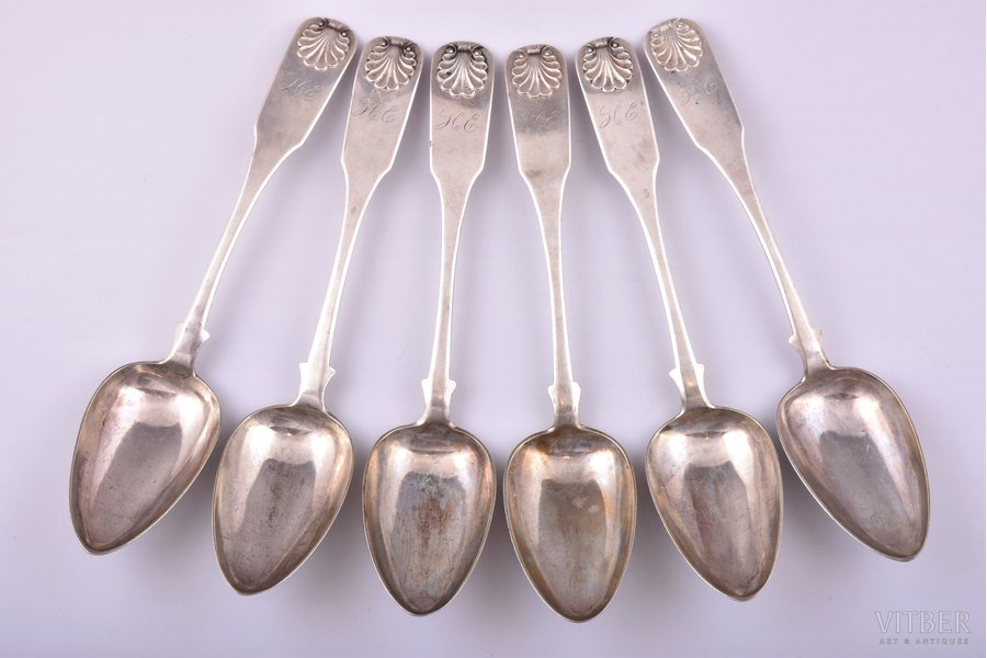 "set of soup spoons, silver, 84 standart, 6 pcs., 1853, 361.65 g, by Cristoph Barthold Knuth, Riga, Russia, 22.6 cm, two spoons with mark ""Bergwitz"""