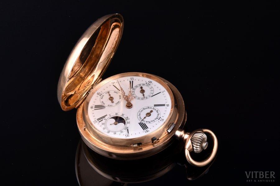 kabatas pulkstenis, Krievijas impērija, Šveice, zelts, 56, 14 K prove, 100.36 g, 6.75 x 5.25 cm, 52.5 mm, darbojas labi, veikta profilakse