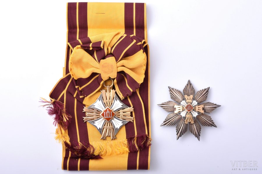 The Order of the Lithuanian Grand Duke Gediminas, 1st class, silver, enamel, Lithuania, the 30ies of 20th cent., award after 1930, with large one-sided cross