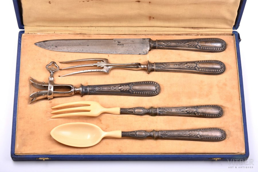 flatware set of 5 items, metal / silver, 5 pcs., 950 standart, total weight of items 475.30g, France, 32.1 - 21.2 cm, in a box