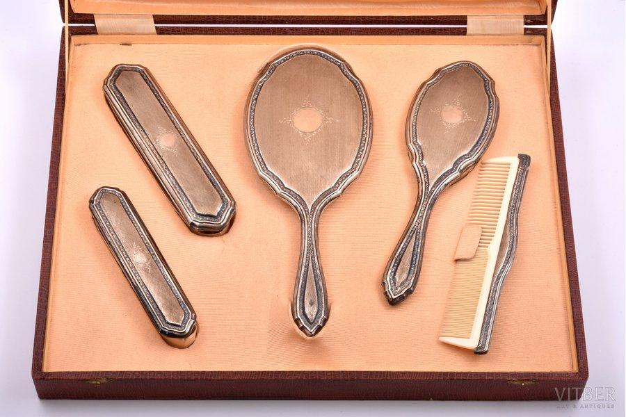 5 tualetes piederumu komplekts, sudrabs, 800 prove, 27 - 15.5 cm, Itālija, kastē