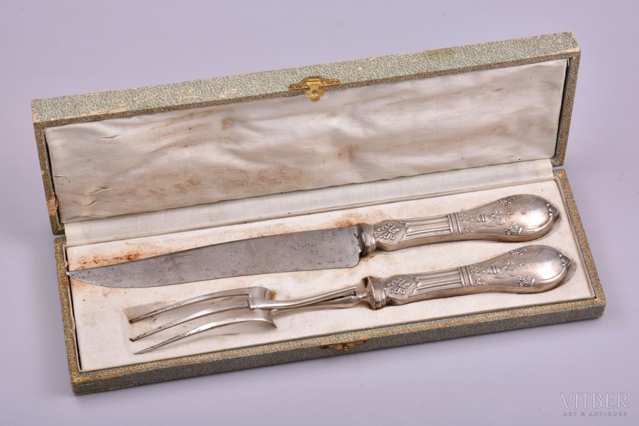 meat carving set of 2 items, silver, 950 standart, metal, total weight of items 287.25g, France, 32.3 - 28.8 cm, in a box