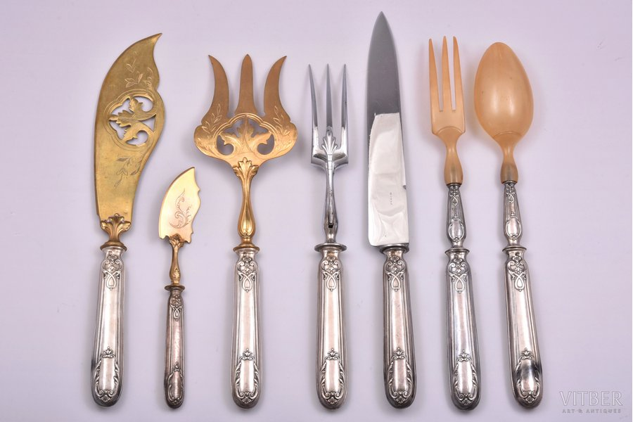 flatware set of 7 items, metal / silver, 950 standart,   total weight of items 636.30g, France, 31.1 - 18 cm