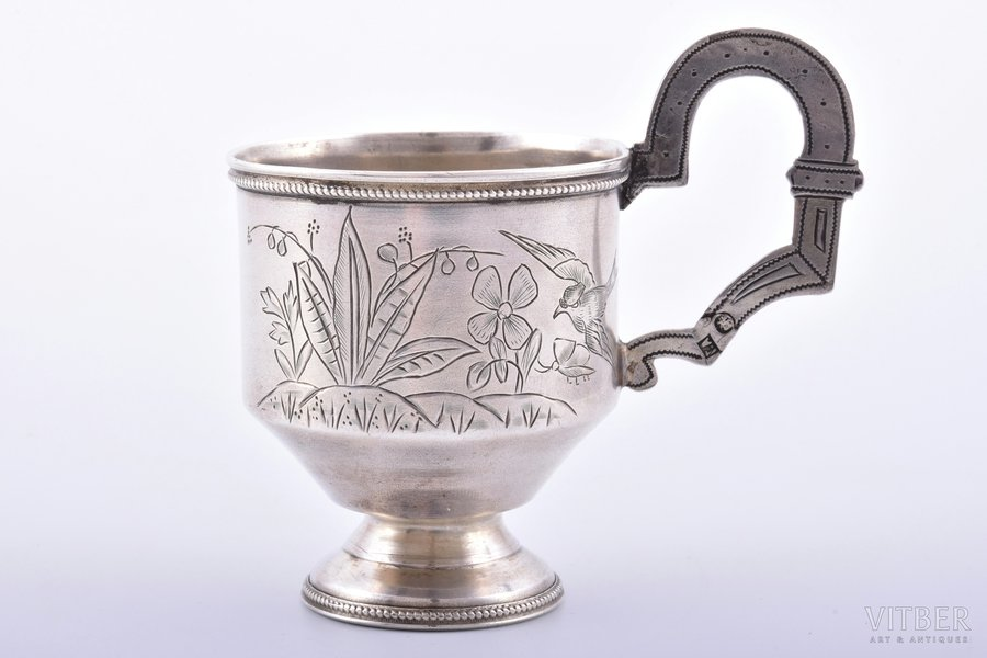 charka (little glass), silver, 84 standart, engraving, 189?, 54.93 g, Gerasim Ivanovich Afanasyev's workshop(?), Moscow, Russia, h (with handle) 7.8 cm