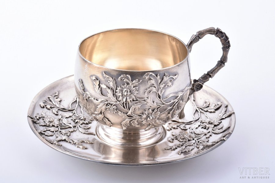 tea pair, silver, 950 standart, floral motif, 181.10 g, France, h (cup with handle) 6.5 cm, Ø (saucer) 12.2 cm