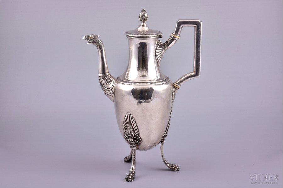 coffeepot, silver, 950 standart, 813.35 g, France, h 29.6 cm