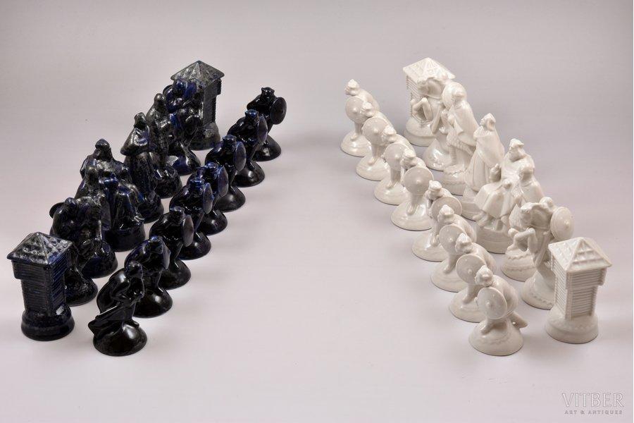 Figurines for playing chess, porcelain, Riga (Latvia), Riga porcelain factory, 1940-1941, 9-11 cm