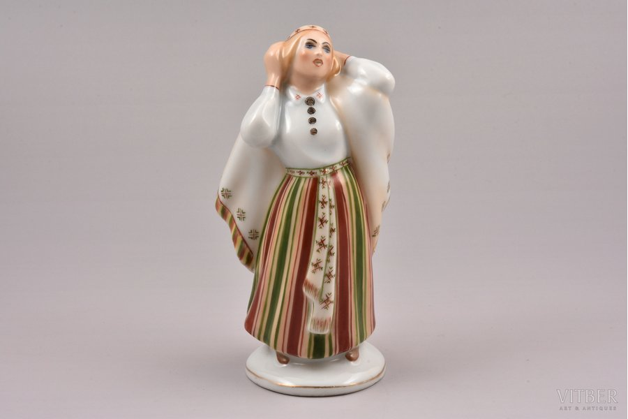 figurine, Mourning woman, porcelain, Riga (Latvia), Riga porcelain factory, signed painter's work, handpainted by Mirdza Januza, molder - Augusta Silina, 1940, 13.8 cm, first grade