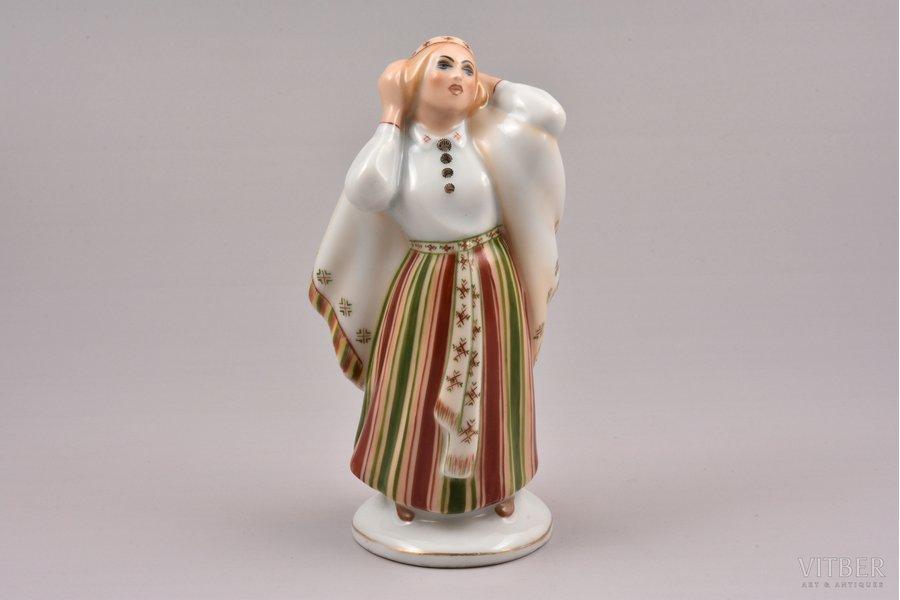 figurine, Mourning woman, porcelain, Riga (Latvia), Riga porcelain factory, signed painter's work, handpainted by Mirdza Januza, molder - Augusta Silina, 1940, 13.8 cm, first grade