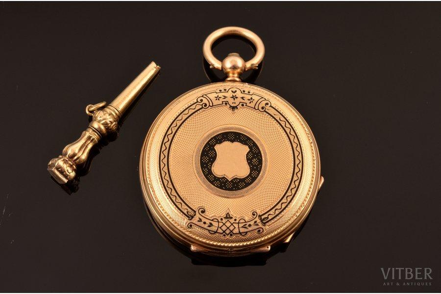 kabatas pulkstenis, Francija, zelts, emalja, 26.98 g, 3.8 x 3.3 cm, 30 mm, ar zelta atslēgu, darba kārtībā