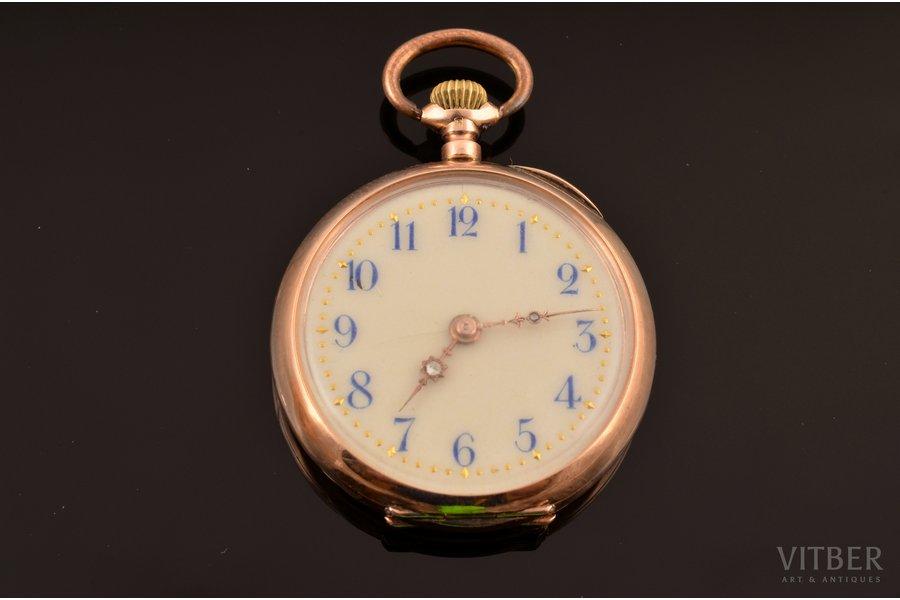 """kabatas pulkstenis, """"Remontoir"""", Šveice, zelts, metāls, emalja, 585 prove, 23.07 g, 4 x 3.2 cm, 27 mm, darba kārtībā"""