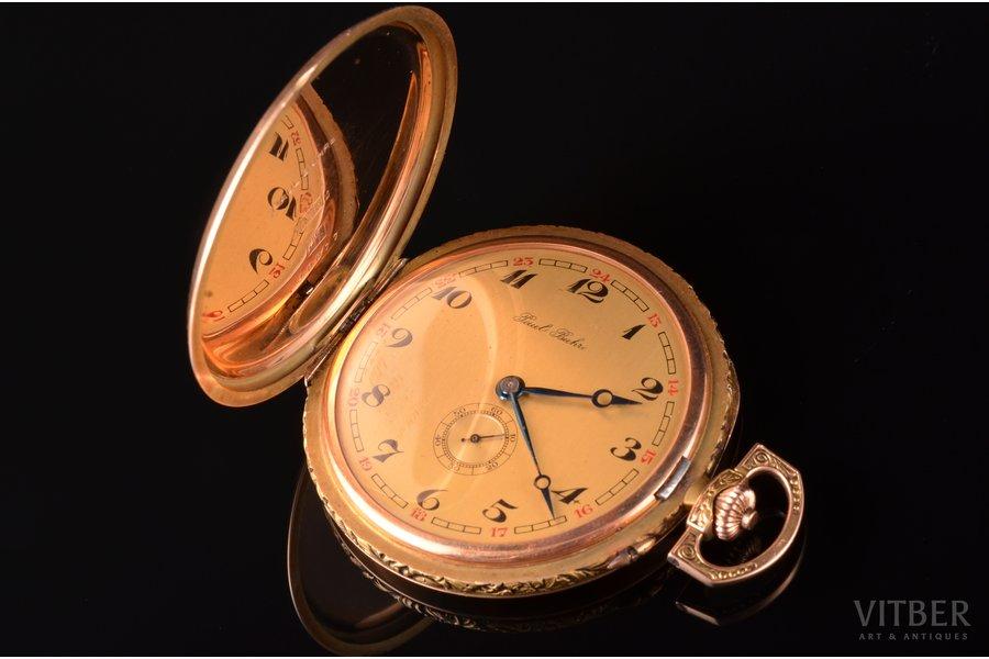 """kabatas pulkstenis, """"Paul Buhre"""", Krievijas impērija, Šveice, zelts, 56, 14 K prove, 73.80 g, 6.1 x 4.9 cm, 49 mm, darba kārtībā"""