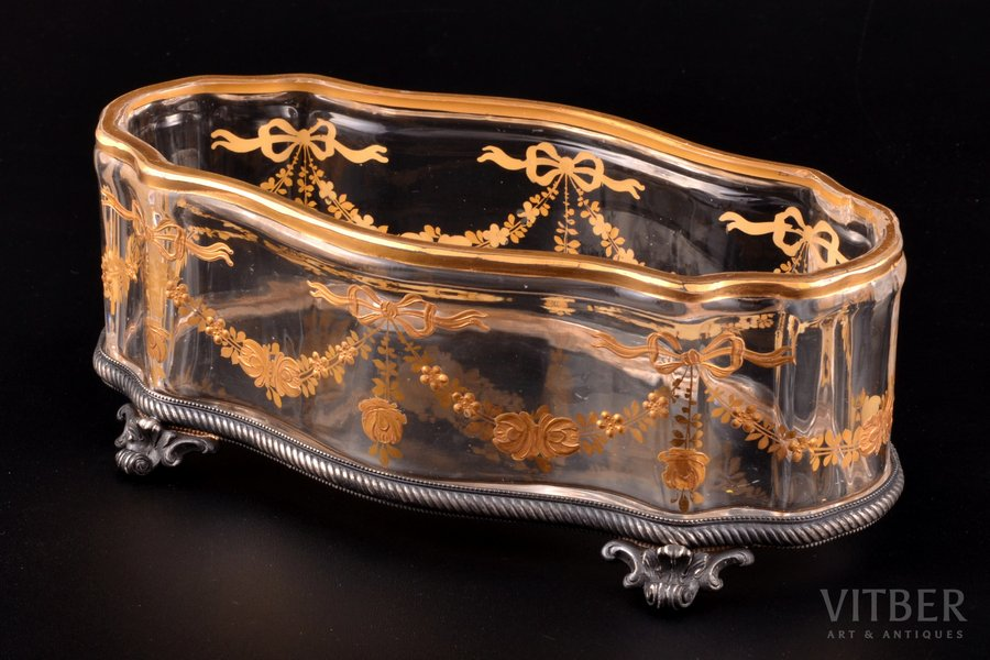 candy-bowl, silver, 84 standart, glass, gold painting, 1896-1907, St. Petersburg, Russia, 6.7 x 18.5 x 9.1 cm, small chip inside at the edge