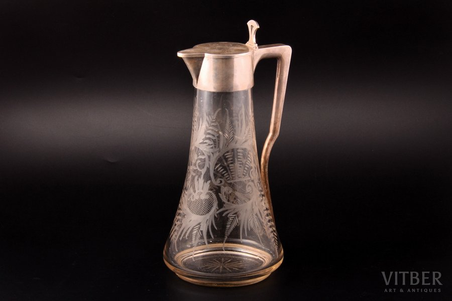 """jug, silver, 84 standart, engraving, gilding, glass, 1896-1907, """"Grachev Brothers"""", St. Petersburg, Russia, h 29.8 cm, chip at the base, crack under the neck (not visible from outside)"""