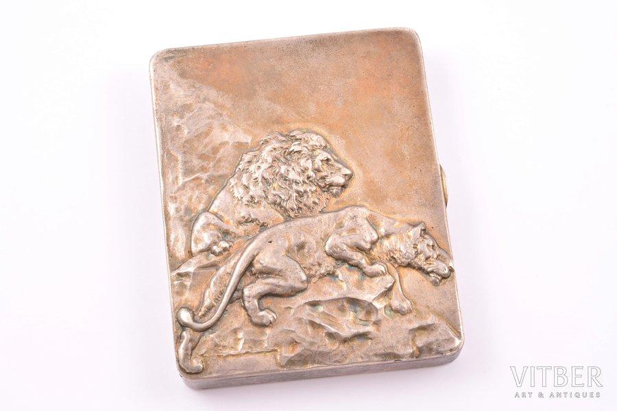 """cigarette case, silver, 84 standart, """"Lions"""", 1908-1917, 268.30 g, Kiev, Russia, 10 x 8.2 x 1.6 cm"""