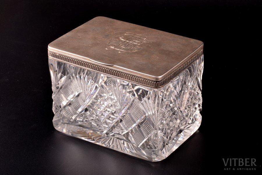 lādīte, sudrabs, 84 prove, kristāls, 1908-1917 g., Santkpēterburga, Krievijas impērija, 9.7 x 12.9 x 9.1 cm