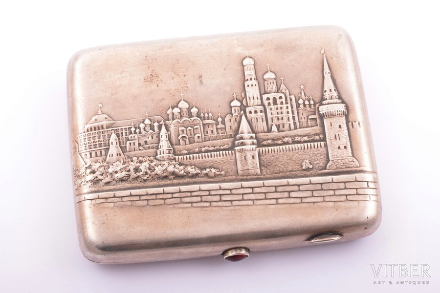 "cigarette case, silver, 875 standart, ""Kremlin"", gilding, the 50ies of 20th cent., 180.20 g, ""Moscow Jeweller"" artel, Moscow, USSR, 10.9 x 8.7 x 1.9 cm"
