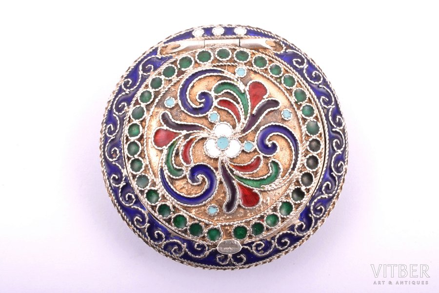 powder-box with mirror, silver, 916 standart, cloisonne enamel, the 30ties of 20th cent., total weight of item 33.65g, Leningrad, USSR, Ø 4.4 cm