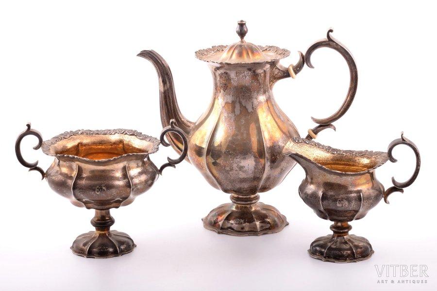 service of 3 items: coffeepot, sugar-bowl, cream jug, silver, 830 standart, gilding, 1922, 1129.9 g, (coffeepot) 653.30 g + (sugar-bowl) 303.45 g + (cream jug) 173.15g, Finland, 24.2 / 14.7 / 13.8 cm
