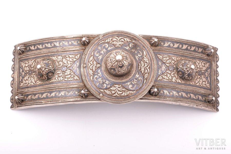 buckle, silver, 84 standart, niello enamel, 1896-1907, 455.70 g, Russia, 24.8 x 8.7 cm