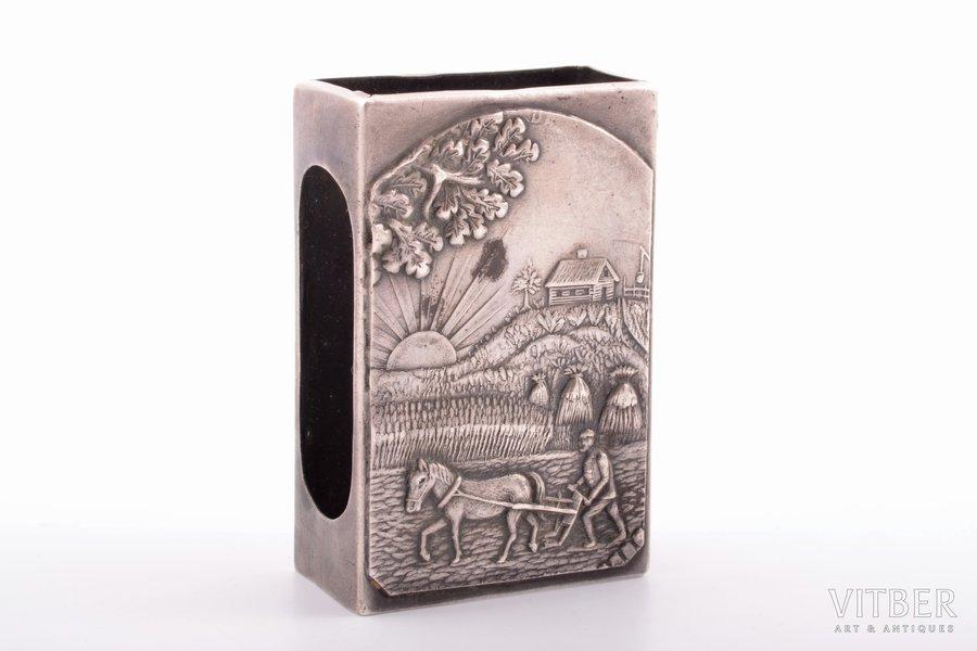 "спичечница, серебро, 875 проба, ""Пахарь"", 20-е годы 20го века, 20.90 г, Латвия, 5.9 x 3.9 x 2.1 см"