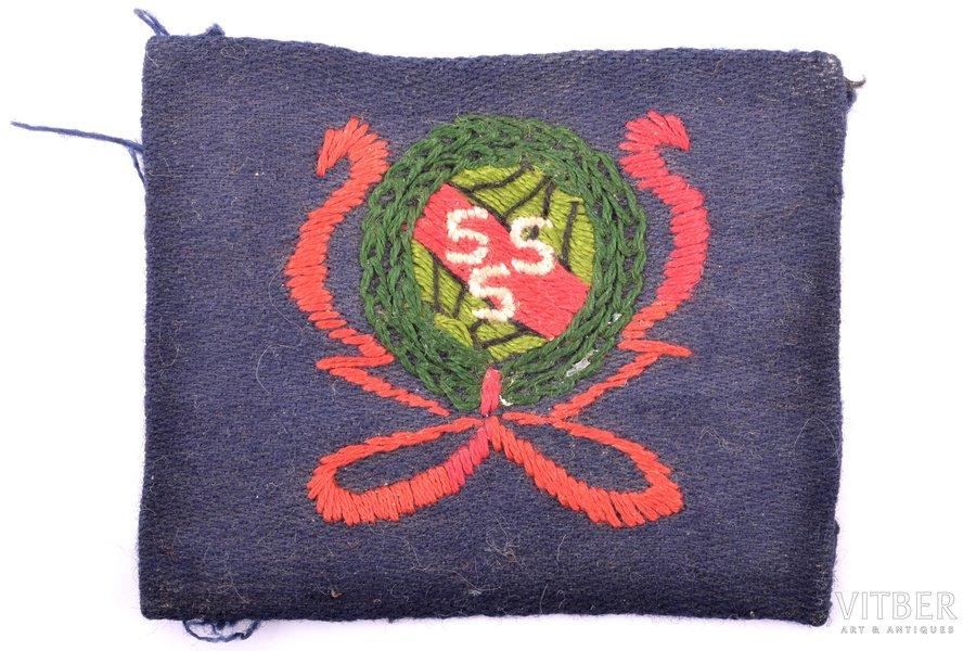 uzšuve, Strādnieku sports un sargs (SSS, sarunvalodā — siseņi), paramilitāra LSDSP sporta organizācija, audums, Latvija, 20 gs. 20-30tie gadi, 5 x 6.2 cm