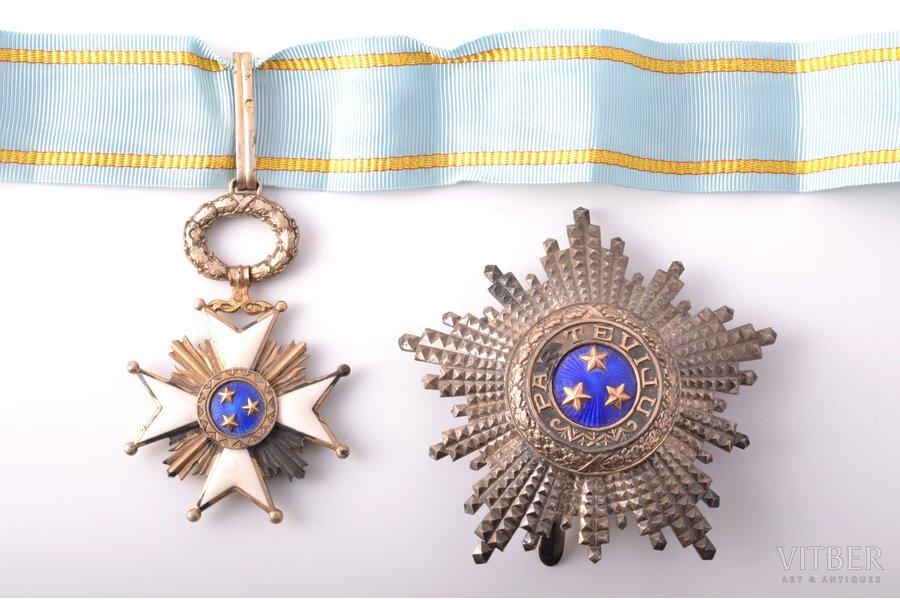 "set of the Order of Three Stars, 2nd class, silver, 875 standart, Latvia, 20-30ies of 20th cent., ""Vilhelms Fridrichs Müller"" manufactory"