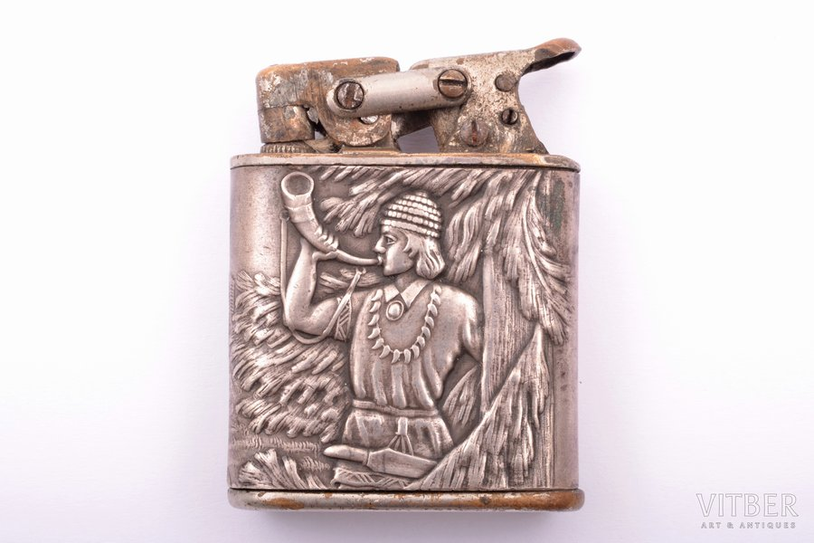 lighter, silver, 875 standart, metal, the 20-30ties of 20th cent., total weight of item 59.80g, Latvia, 5 x 3.8 x 1.3 cm