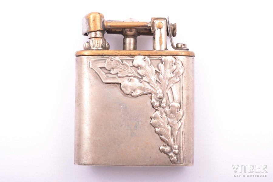 "lighter, silver, 875 standart, ""Acorns"", metal, the 20-30ties of 20th cent., total weight of item 37.20g, Latvia, 4.9 x 3.8 x 1.3 cm"