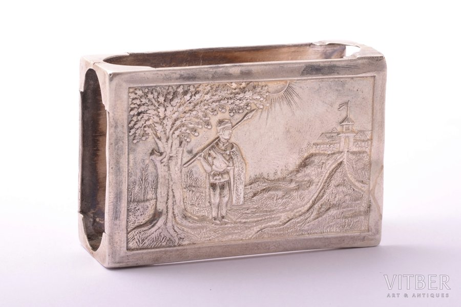 """matches' holder, silver, 875 standart, """"Warrior"""", the 20ties of 20th cent., 23.30 g, Latvia, 3.9 x 5.8 x 2 cm"""