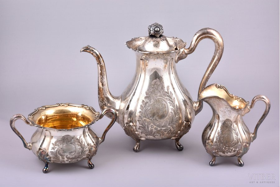service of 3 items: coffeepot, sugar-bowl, cream jug, silver, 830 standart, engraving, gilding, 1949, 1361.35 g, (coffeepot 760.10 g + sugar-bowl 345.45 g + cream jug 255.80 g), Turku, Finland, 23.1 / 13.3 / 9.4 cm