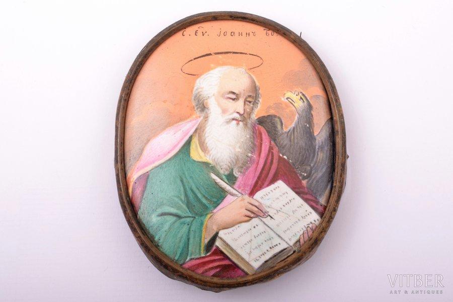 icon, Saint John the Apostle, enamel, Russia, 7.3 x 6 cm