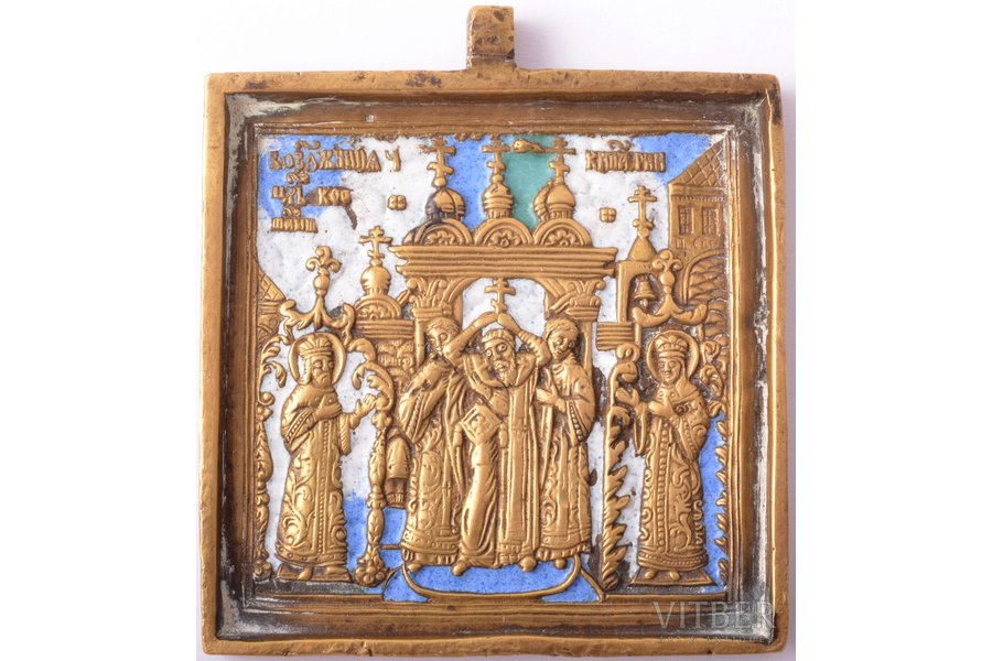 icon, The Exaltation of the Holy Cross, copper alloy, 3-color enamel, Russia, the border of the 19th and the 20th centuries, 6.5 x 5.9 x 0.5 cm, 89 g.