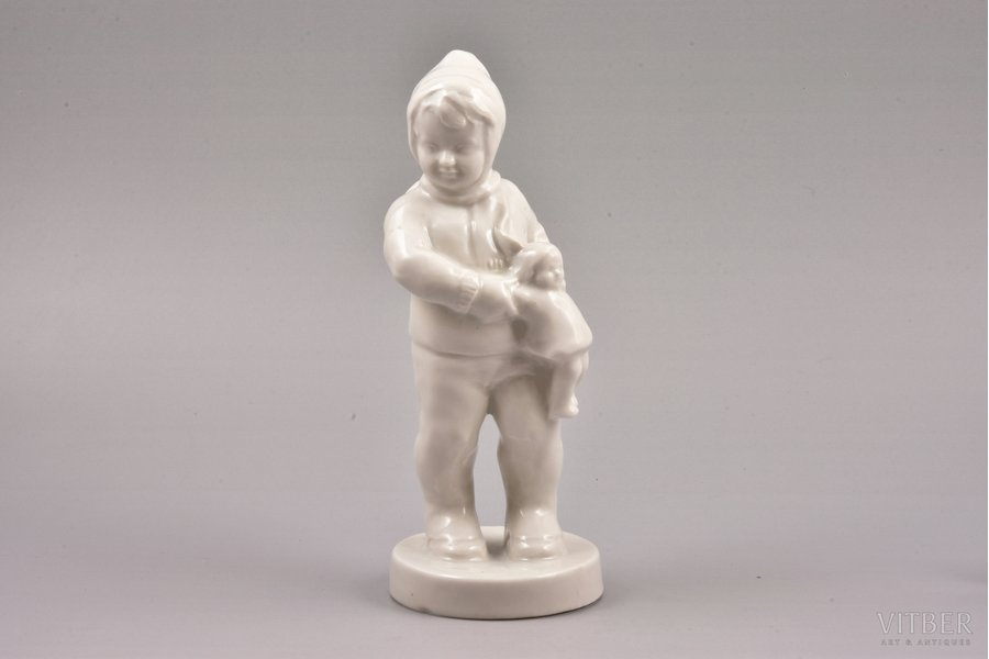 figurine, A Girl with a Doll, porcelain, Riga (Latvia), USSR, sculpture's work, molder - Aldona Elfrida Pole-Abolina, 1955, 18 cm, prototype of the figurine - author's child