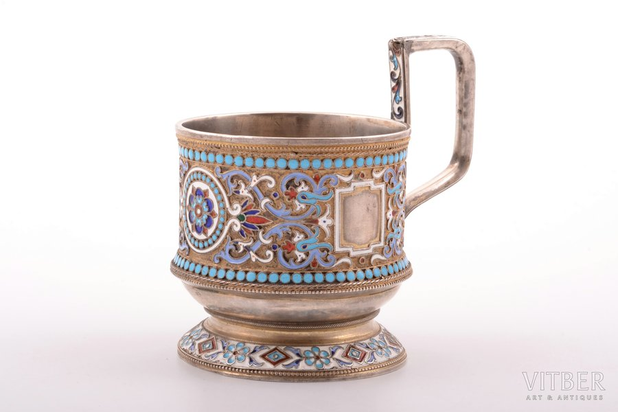 tea glass-holder, silver, 84 standart, cloisonne enamel, 1880-1890, 166.65 g, by Akimov V., Moscow, Russia, h (with handle) 9.9 cm, Ø (inside) 6.8 cm