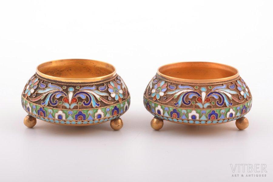 pair of saltcellars, silver, 84 standart, cloisonne enamel, gilding, 1908-1917, 74.40 g, D. P. Nikitin's workshop, Moscow, Russia, Ø 5.2 cm