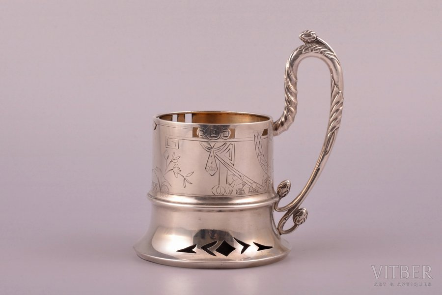 tea glass-holder, silver, 84 standart, engraving, 1908-1917, 171.65 g, master Frolov Sergey Alexeyevich, Moscow, Russia, h (with handle) 13 cm, Ø (inside) 6.6 cm