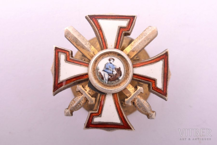 "miniature badge, the Military Order of the Bearslayer, silver, 875 standart, Latvia, 20-30ies of 20th cent., 17.6 x 17.7 mm, ""Vilhelms Fridrichs Müller"" manufactory"