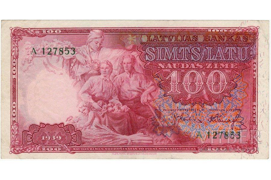 100 lats, banknote, 1939, Latvia, AU