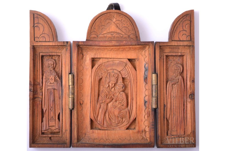 icon with foldable side flaps, Mother of God, Saint Nicholas the Wonderworker, Saint Sergius of Radonezh, wood, wood carving, 10.2 x 12.3 x 1 cm